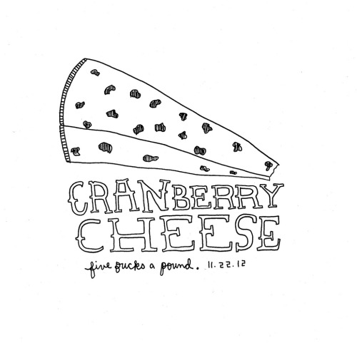 Daily Purchase Drawing for 11.22.12  The purchase of cranberry cheese means that the holiday season has officially started.
