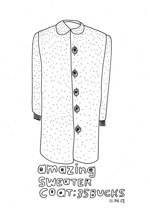 Daily Purchase Drawing for 11.24.12 Sweater Coat from Rad Summer. It's a coat. It's a sweater. It's a socially acceptable blanket to wear in public.