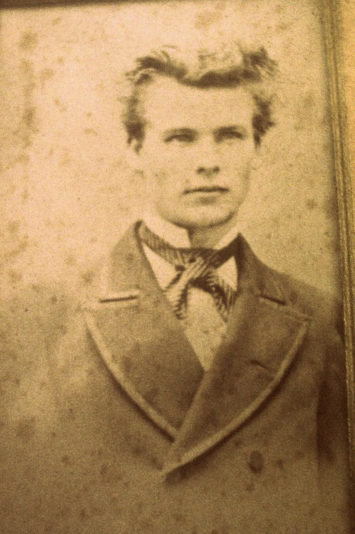 mydaguerreotypeboyfriend:  From the submitter, Vix: This guy was a relative from my maternal Grandfather's side of the family. Apparently he went mad and ended his days in an asylum. Reminds us a little of our original Daguerreotype BF, Robert Cornelius!