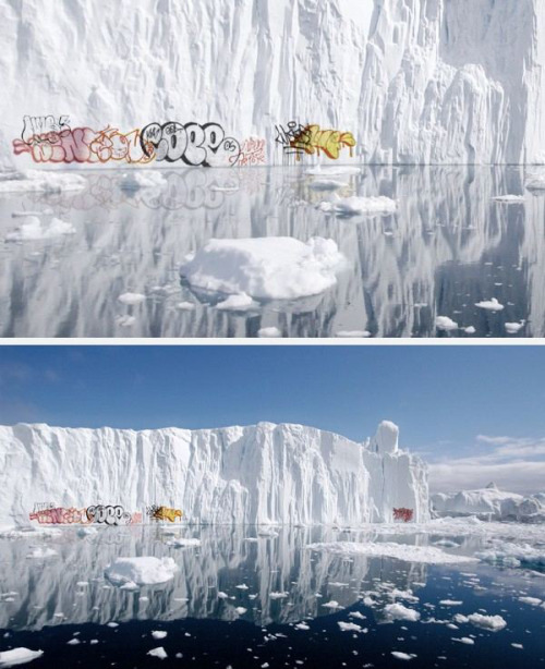 World's First Graffiti On Polar Icebergs