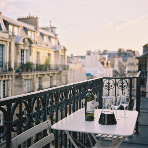 | ♕ |  Paris balcony at dusk  | by © Henry Parsons | via ysvoice