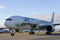"Air New Zealand's B777-300 aircraft inspired by The Hobbit: An Unexpected Journey touched down at Heathrow over the weekend ahead of regular services between Auckland, Los Angeles and London for the ""flying billboard"""