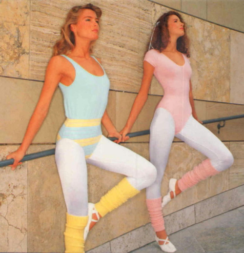 Two different aerobic outfit in pastel colors: Leotards, leggings with leg warmers and ballet shoes.