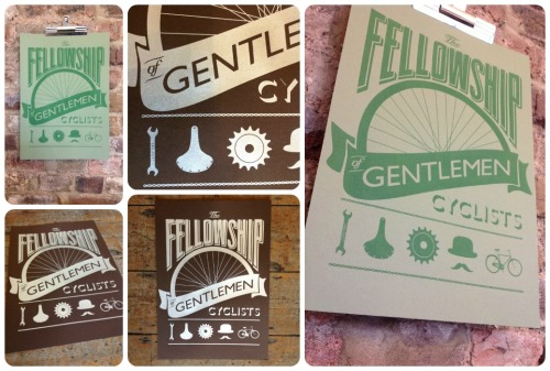 www.facebook.com/junkfunkshop  THE FELLOWSHIP OF GENTLEMEN CYCLISTS SCREEN-PRINTSOur beloved design by Huw Williams is now available in this signed, limited edition run of 25 print, handcrafted by master screen-printer, Gary Parselle.Two gorgeous colour combinations to choose from - silver on chocolate brown or pea green on olive green - high quality paper, measuring 30cm x 42cm.Our unique typography-based design encompasses the kindred spirit and camaraderie of the cycling fraternity.£30