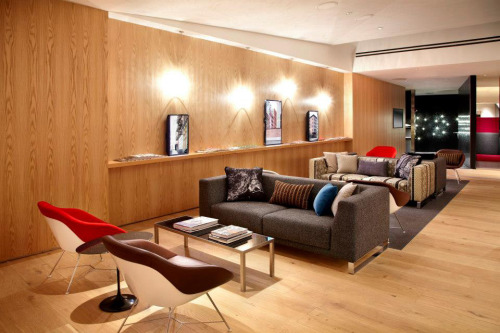 Slade Architecture has created the Virgin Atlantic Newark Clubhouse, a complex and entertaining lounge. (See details here, and see the one they did for JFK here.) I'm one of several artists who created pieces for the project. The screens above loop movies of three of my SoHo landscapes, playing as slowly as possible in case you have time to kill before your flight is boarding.