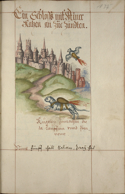 TURBO CAT! From a 16th-century German manuscript. Read all about it (and see lots of other ancient rocketry) on BibliOdyssey.  Image source: peacay on Flickr.