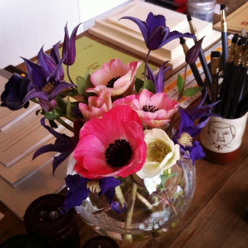 This weeks shop flowers, pink poppy anemones and purple clematis