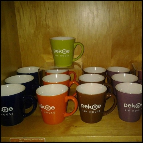 What better to put your Pekoe coffee or tea in every morning? Buy a mug at Alpine or Steelyard today and get a discount every drink you buy with your mug at Pekoe!