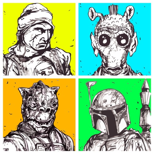 heyyomike:  Four bounty hunters and a funeral.
