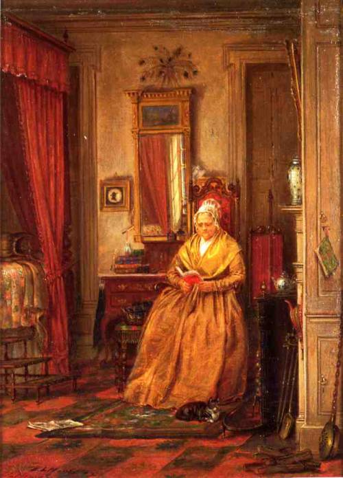 Edward Lamson Henry, 'At home with a good book'via