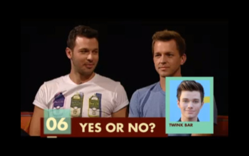 I'm watching 1 girl 5 gays and… I just… Chris Colfer? Twink bar? I can't. I'm dead.