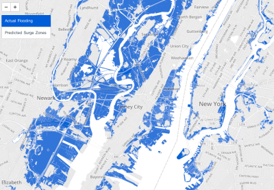 wnyc:  Map by Data News: Actual flooding from Hurricane Sandy versus projected flooding. (Click for interactive, address search.)
