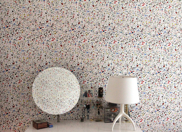 Flat Vernacular uses tiny stickers to hand craft each wallpaper design on a case by case custom order.