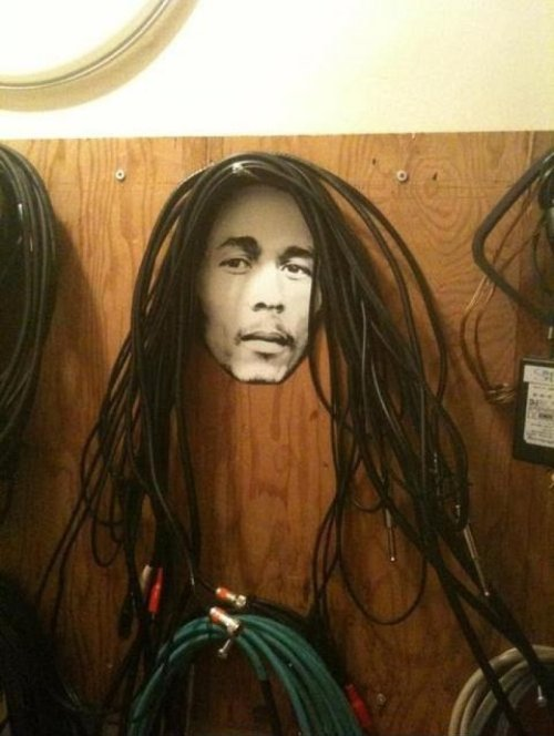 Bob Marley Guitar Cables  An idea for those who don't wrap cables properly (or at all)