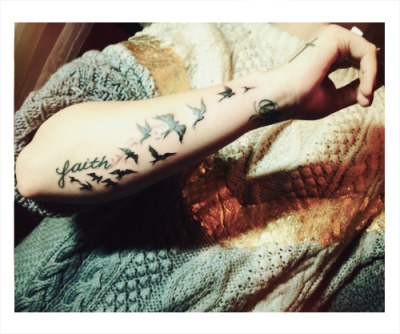 """Birds signify freedom/guides, so the birds began in faith and go up strong, which means path of faith by force…"