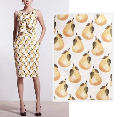 Dress like Emma Pillsbury: lula's pear dress $178 from Anthropologie (online only) If Emma doesn't wear this pear print pencil dress with a bow, then I may cry. Plus there's free shipping at Anthropologie today with no minimum!
