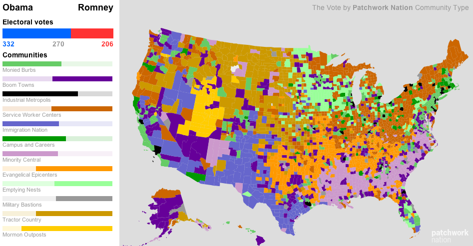 A different look on election results. Patchwork Map of the U.S. explains how and why Obama won based on categorized locations. I find this map very useful to understand how  diversified different states are in the U.S. As a politician you can even develop your own strategies based on this map. It's clear that one obvious reason to win was Obama has all industrial metropolises. Read more about it on WNYC.