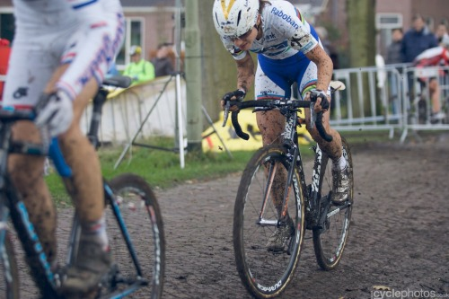 """An unusual sight - Marianne Vos digging deep to keep up with someone"" - via cyclephotos │cyclocross photograpy » Superprestige #4 – Gieten Superb photos of the race from Balint Hamvas on Cyclephotos - click through and check them out!"