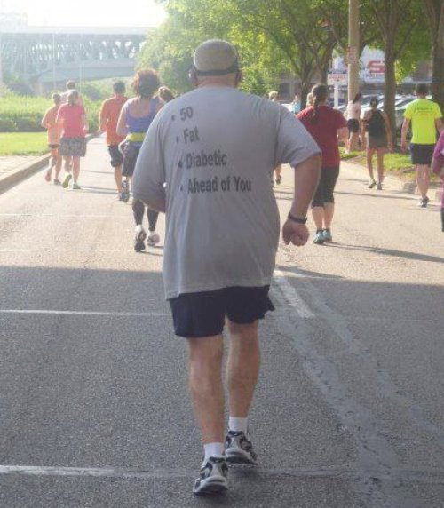 Diabetic Marathon Runner Wears Sassy Shirt  Boom. Roasted.