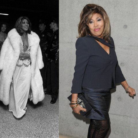 "Happy 73rd Birthday to the One and Only Tina Turner!!! At left, she is attending the opening party for ""Tommy"" on March 18, 1975 (Sal Traina/Conde Nast). In the picture on the right, she is attending Giorgio Armani's fashion show in Milan on February 28,2011. (Venturelli/WireImage)."