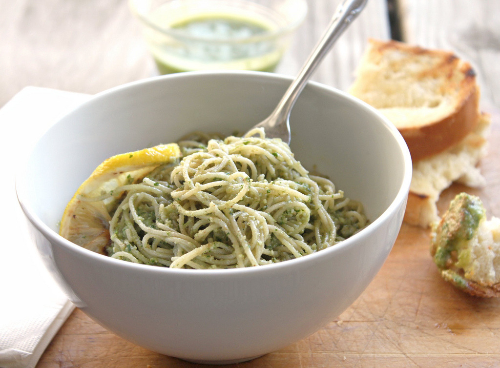 Parsley-Walnut Pesto Over Angel Hair Pasta