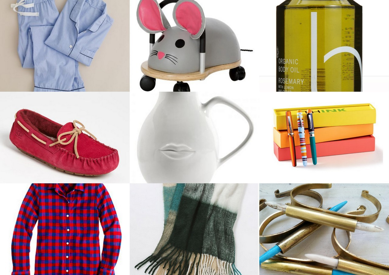 Emphasis Added's Gift Guide: Under $100 editionAs overdone as they may be, I can't resist a good gift guide this time of year.  So in that spirit, here is a collection of things I think are awesome: Classic Pajamas - Sexy and cozy.  This one is a no-brainer. A Rideable Mouse (or cow or bumble bee or pig) - Hazel got this gift from her uncles and loves to scoot around the house on it!  Priced under $70 - this toy is a lot of bang for your buck. Bamford Oil - Oh man, I live for this oil! Bath stuff can be a lame gift, unless done right.  Bamford oil is ultra luxe and one of those splurges that most people wouldn't pick up for themselves. Uggs Slippers - The Red or Blue Suede styles liven up this practical gift. Jonathan Adler Muse Pitcher - A quirky piece of pottery that will add flair to any table. thINK pens - These pens are super nice (perfect for the professional on your list), but not at all stuffy.  The bright packaging and cool designs make this one of my favorite gifts I have ever given. The Perfect Plaid Shirt - I have been on the hunt for the ultimate flannel button up for myself and figured some of my girlfriends might also appreciate adding this to their closet. Cozy Throw Blanket - I enjoy giving blankets…i think they make such a warm gift (in multiple senses of the word).  If a cashmere one is in your budget, those are the best…but if not, Anthro offers some affordable and very cozy alternatives. Cities in Dust Cuffs - These edgy bracelets will likely be the most bad-ass jewelry under the tree.  At $50 each, I strongly recommend giving them in pairs. Now get out there and take advantage of all the Cyber Monday sales! xo