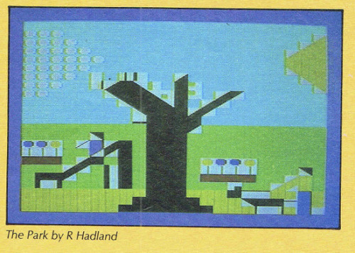 Commodore's International Art Challenge 1984, 'The Park' by Richard Hadland, first prize in the Under 12 Still category. Image from the Magazine Commodore Computing International (vol 3, 1984).