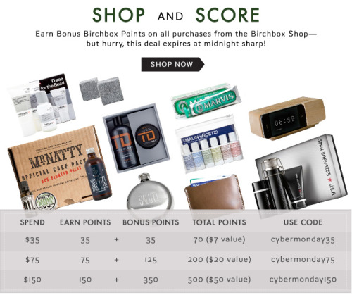 Happy Cyber Monday! Click here to visit the Birchbox Shop and earn Bonus Birchbox Points on all purchases through midnight tonight.