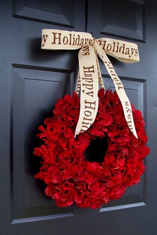 | ♕ |  Cranberry Red Christmas Wreath  | by elegantholidays  Happy Holidays, everyone!
