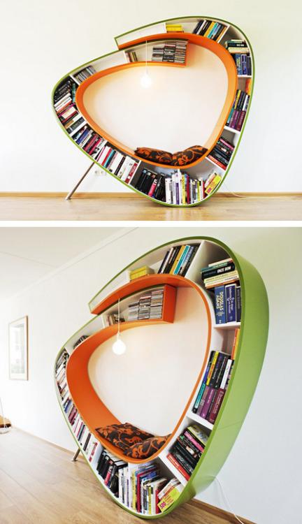 explore-blog:  This bookworm chair is only the best thing ever. More unusual bookcases here, here and here. (↬ this isn't happiness)