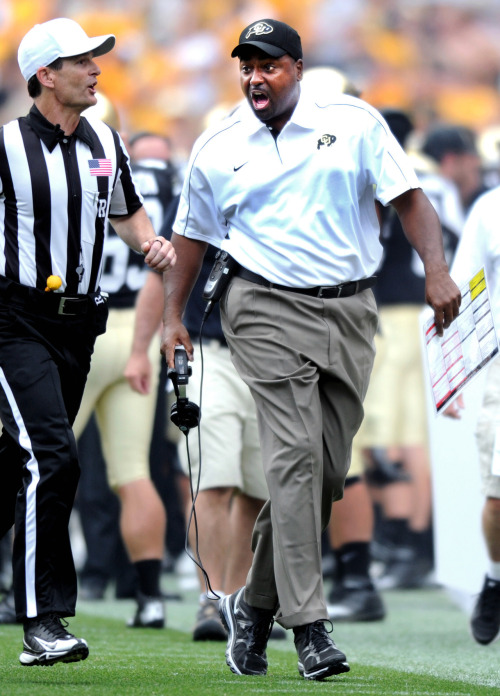 EMBREE'S OUT After a 4-21 record during his two years as CU football's head coach, Jon Embree has been fired. We've got the full story here, and the latest news - with videos from press conferences with CU athletics - all at buffzone.com. Photo by Cliff Grassmick, Daily Camera