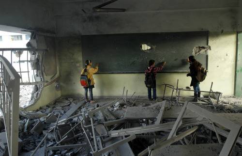 buzzfeed:  Children are returning to school in Gaza City as life in Gaza slowly goes back to normal after last week's cease-fire.  These pictures are quite amazing.  Best of luck to these kids…Such troopers.
