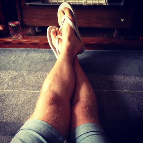 Feet up.  Don't mind my legs to be fair, the years of walking has been kind to me