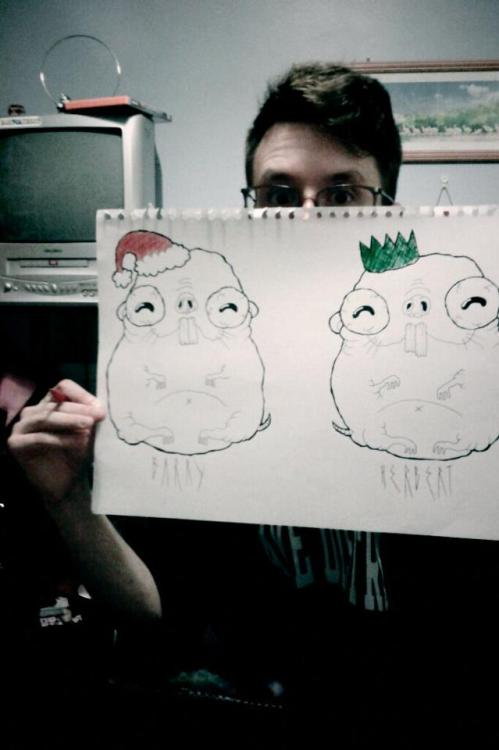 Fifi wanted some cute christmas cards done featuring naked mole rats with hats on… I complied… work in progress. They're called Barry and Herbert respectively.