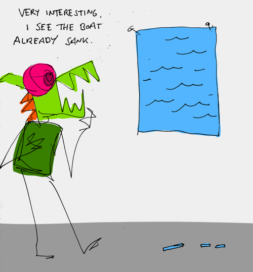 explodingdog:  Crazy Monster is checking out some new artwork.