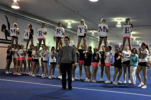 staystronglive4eva:  a cheer engagement :D congrats to one of my coaches! :)