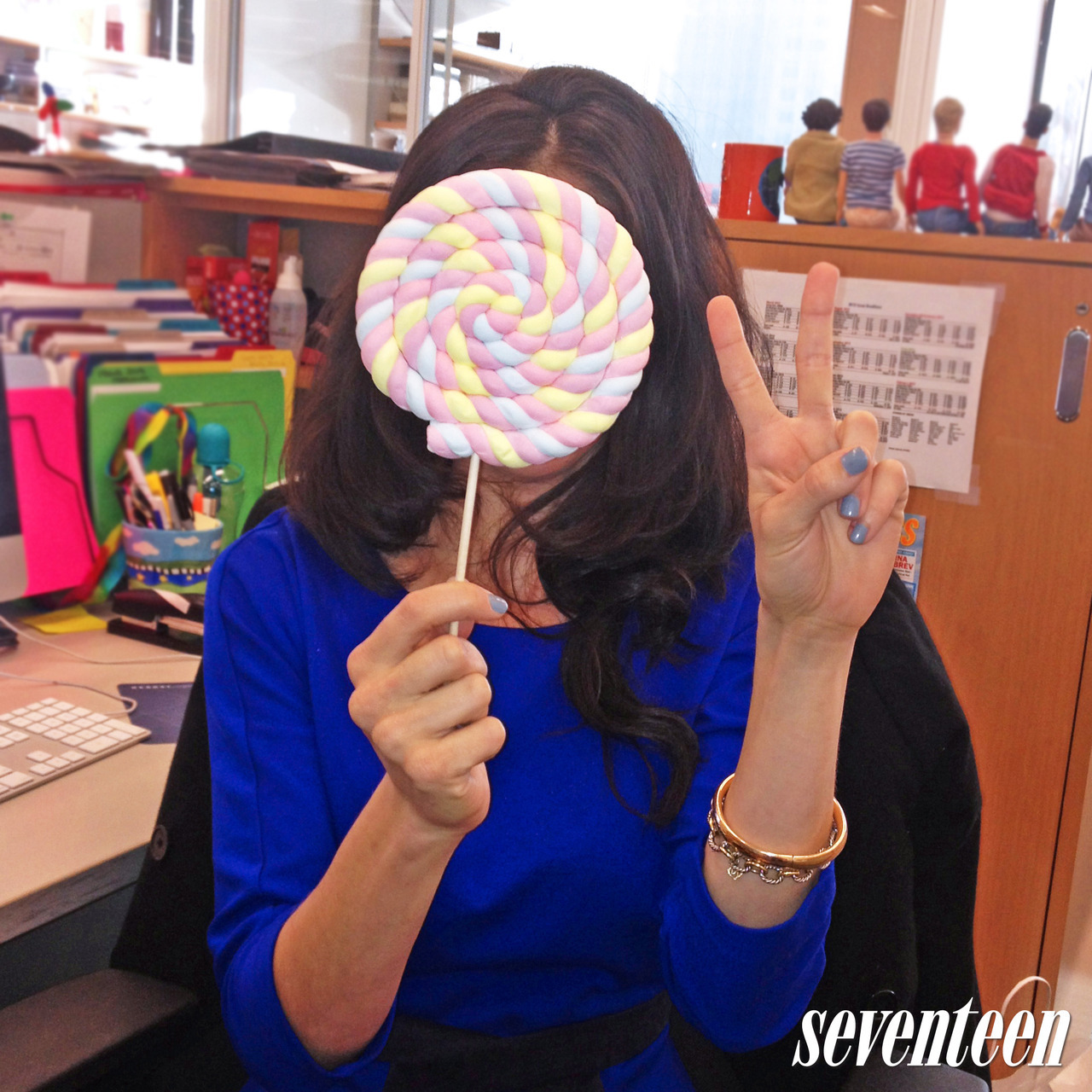 Caught in the act! (Our health editor, Leslie, indulging her sweet tooth).