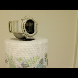 from my instagram projectmega—pix:  Special g-shock watch holder that doubles as a paper towel dispenser #efficiency