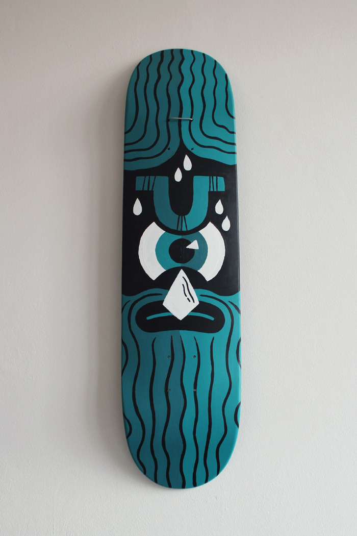 "Painted another skateboard recently called ""Anger Management"". Acrylics on wood. More pictures can be found on my website."