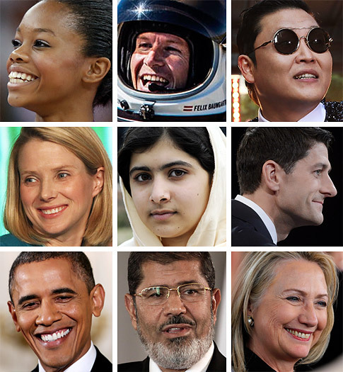 Who should be TIME's 2012 Person of the Year?   Cast your vote here for the person you think most influenced the news this year for better or worse.  (Photo: Baumgartner, Douglas, Clinton, Mayer, Obama, PSY, Ryan: Getty Images; Morsy: AP; Yousafzai: Corbis)