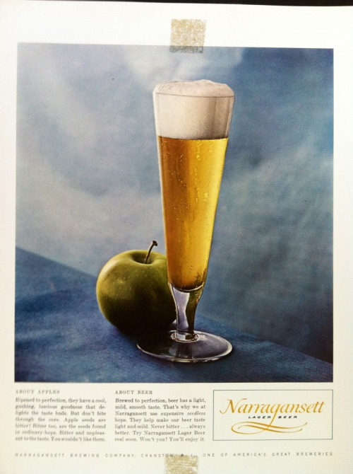 Narragansett Beer ad mock-up comparing apples to beer from the Cunningham & Walsh Agency in the 1960s.