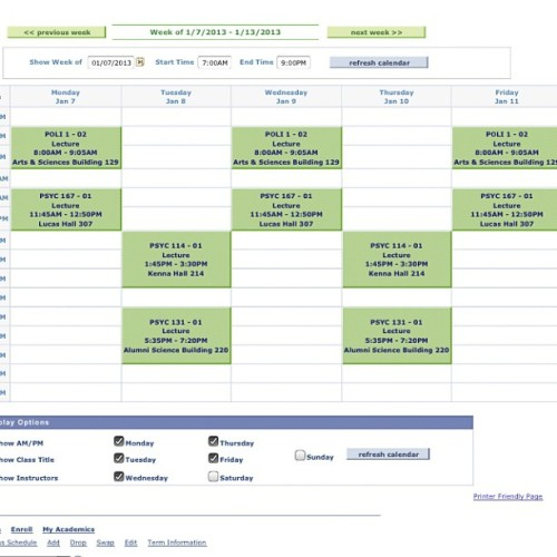 My new schedule for next quarter.. Yay for not taking all tues/thurs classes!! #scu