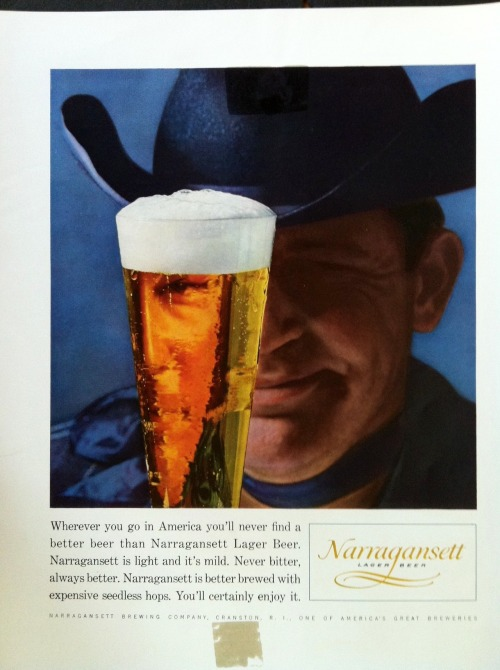 """Wherever you go you'll never find a better beer than Narragansett,"" said this cowboy.  Narragansett Beer ad mock-up from the Cunningham & Walsh agency in the 1960s."