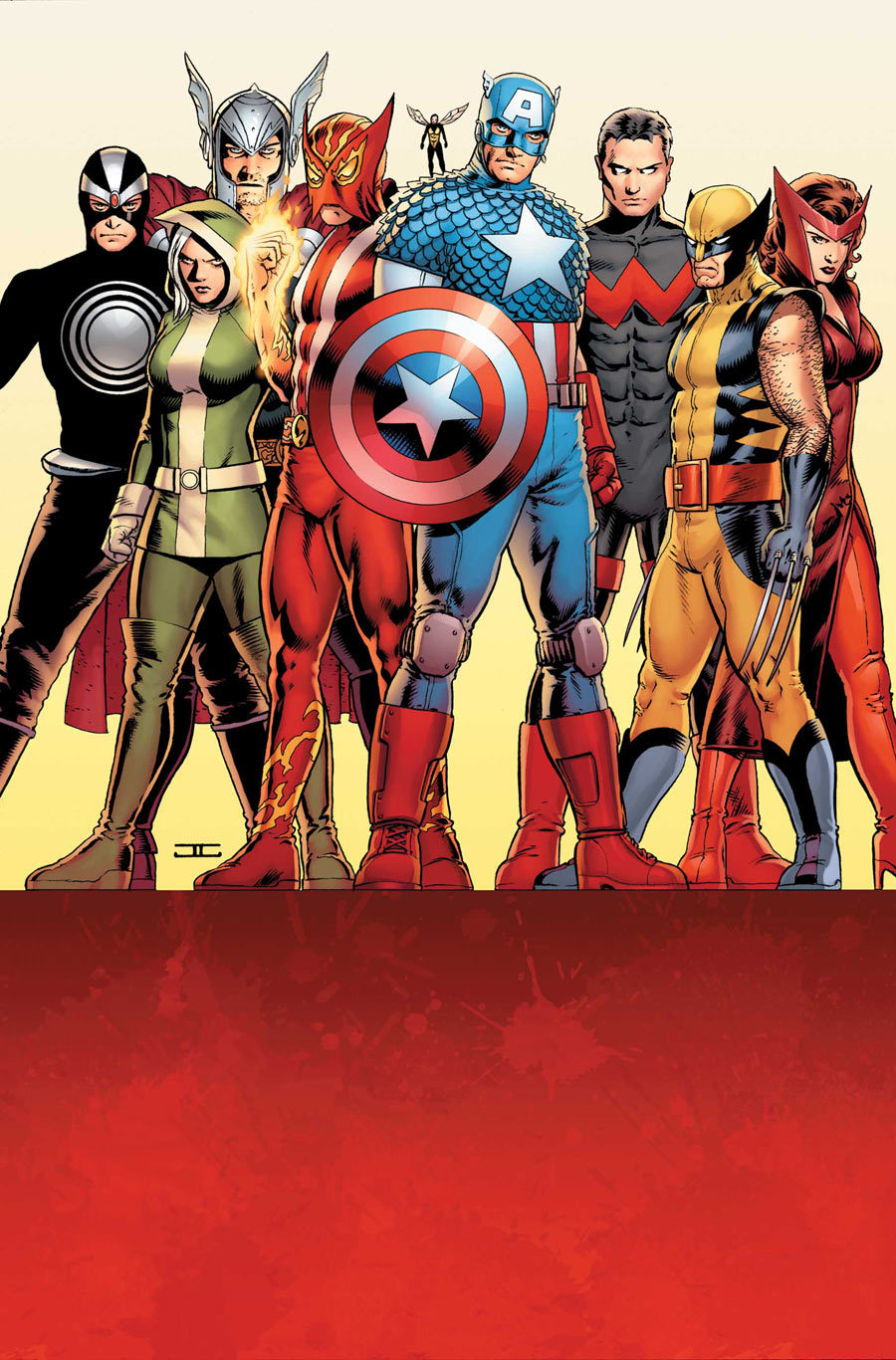 Marvel comics for February 2013: this is the cover for Uncanny Avengers #5, drawn by John Cassaday. Cassaday is always reliable when it comes to the team shot in the simple standing pose.