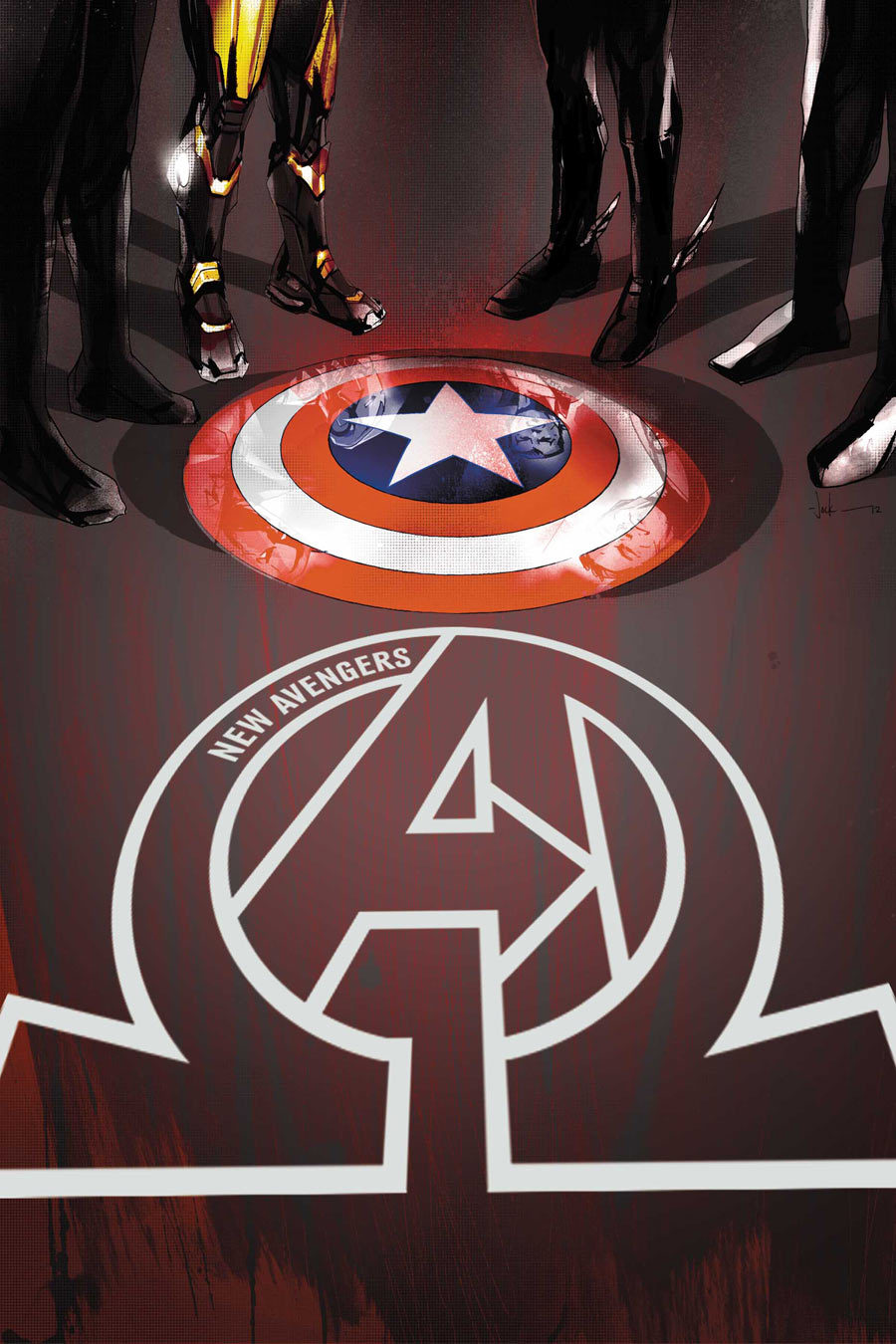 Marvel comics for February 2013: this is the cover for New Avengers #3, drawn by Jock. The aspect that makes this work for me is the reflection of the heroes in the shield.