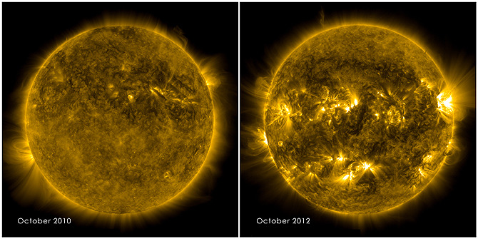 "Solar Minimum; Solar Maximum Our Sun goes through an eleven year cycle of solar activity, and sunspots and flares will be reaching their peak next year. The NASA images above, captured by the Solar Dynamics Observatory (SDO), are photographic proof. Increased solar activity can mean good things for aurora-watchers, but can be disruptive to our satellites and communications if some of that million-degree plasma gets ejected in our direction. That's hot stuff. Random fact: The NASA SDO mission has a chicken named Camilla for a mascot, with a Twitter account. But shouldn't it be called a ""Clucker"" account, since it's a chicken? (via NASA)"
