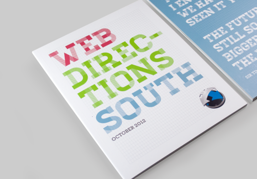 Conference collateral for Web Directions South 2012. Job included illustrations and graphic design applied across programs, name tags, banners, and event signage. The concept centred around four distinct categories of speakers at the conference which was developed into four colour groups with icons. A grid element was also introduced as a play on web designers using grids an important design element in web design, and also a place to encourage drawing and sketching in the books. Full project view is available on my website : HERE