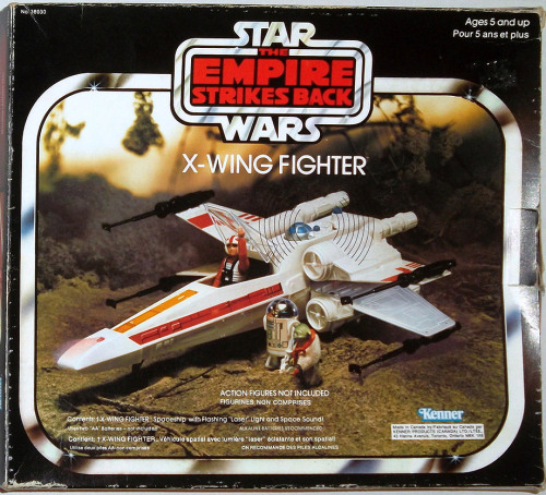 "ratherchildish:  5 ans et plus. (via ebay)  this is the only star wars vehicle that I own in completion from back in the days. I even have the ""battle damage"" stickers on it. all the other ones have missing parts… yoda is gone, so is are-too. I never had pilot-luke…just good old tatooine waterfarmer-luke in his ""sci-fi"" karate pyjamas. I never understood why yoda is wearing a snake around his neck…"