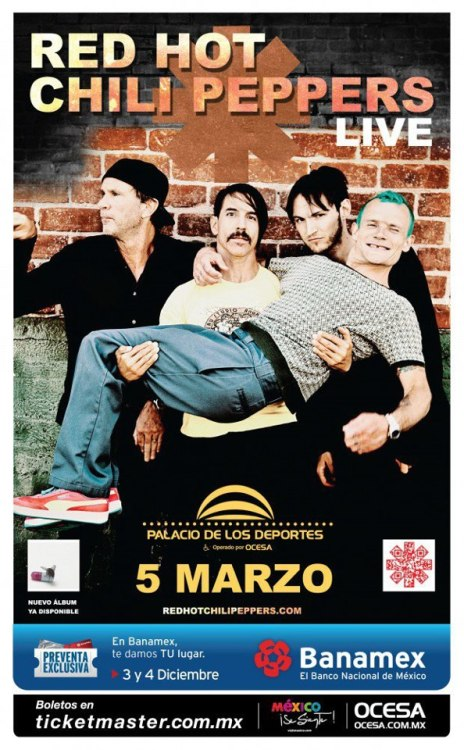 The Red Hot Chili Peppers are performing in Mexico in 2013!March 3 | Guadalajara | VFG Arena March 5 | Mexico City | Sports Palace