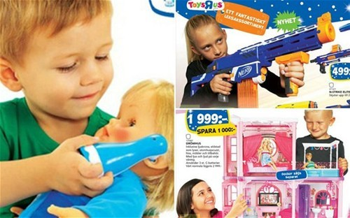 thedailywhat:  Meanwhile in Sweden of the Day: Gender-swapped Children's Toy Catalogue  The latest holiday catalogue released by Sweden's toy retail chain Top Toy is making some buzz for breaking the gender-role stereotypes in its product pages, which features girls with Nerf guns and boys with doll houses and Hello Kitty. According to Jezebel, Top Toy's gender-swapped catalogue may have been inspired in part by the widespread debate over the issue of gender equality that has been ongoing for the past few years in the Scandinavian nation. Hat tip goes to The Mary Sue.